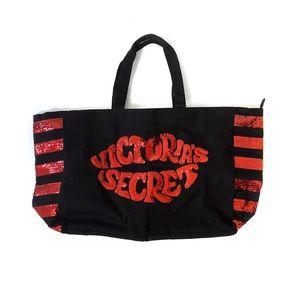 Victoria's Secret Red Sequinned Weekender Tote Bag